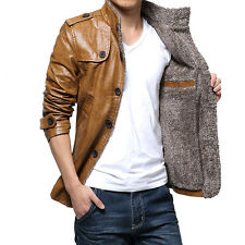 New Mens Warm Winter Jacket Leather Coat Fur Parka Fleece Jacket Slim Coat Black