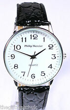 Mens Philip Mercier Big Numbers Watch Easy to Read Big White Face & Black Strap