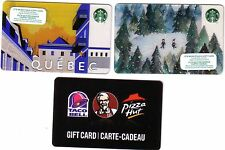 STARBUCKS QUEBEC CANADA+ HOLIDAY COLLECTIBLE GIFT CARD + KFC RECHARGEABLE LOT