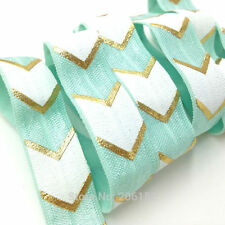 Mint Green with White and Silver Chevrons FOE Fold Over Elastic 16mm - 2 Yards