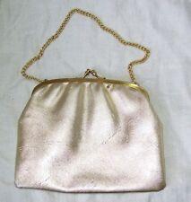 VINTAGE ANNI'50 -'60 Evening Bag oro ecopelle catena MANIGLIA Borsetta Fibbia