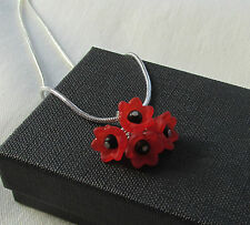 Handmade Unusual Red & Black Petal Flower Cluster Pendant Chain Necklace