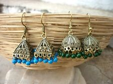 Combo Set of 2 Tibal Golden Oxidized Jhumki Dangle Drop Earring Jewel -BID127