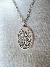 St Michael Archangel+ Guardian Angel Medal Pendant Silver Link Chain Necklace 18
