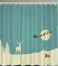 "SANTA CLAUS REINDEER SNOWY PRESENTS CHRISTMAS 70"" Fabric Bathroom Shower Curtain"