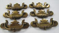 Lot of 6 Vintage Brass Dresser Drawer Furniture Cabinet Pulls