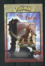 Liberia 2001 MNH Pokemon 1v S/S II #244 Entei  Nintendo CREATURES GAME FREAK