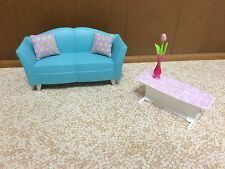 Barbie Doll My Dream House Glam Living Room Couch Coffee Table Pillows Lot