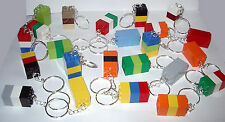 10 LEGO THREE BRICK BLOCK 2X2 SILVER KEY RING CHAIN KEYRING KEYCHAIN PARTY FAVOR