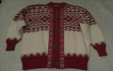 Vintage Women's Scan Alp Nordic Themed Cardigan 100% Wool Sweater New Zealand M