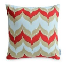 """Red, Beige, White Geometric Cushion Cover IKAT Dome throw pillow 16"""" Cotton"""