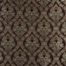A0016F Brown Blue Gold Ivory Traditional Brocade Upholstery Fabric By The Yard