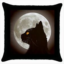 NEW* HOT BLACK CAT FULL MOON Quality Black Cushion Cover Throw Pillow Case