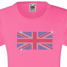 "Girl's T-Shirt (12 Colour options) Rhinestone ""Union Jack"" 3 - 15 Yrs"