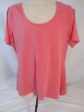 Denim & Co. Pull Over Asymmetrical Pink Short Sleeve Top Shirt Women's XL - J402