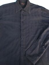 Ben Sherman Mens Button Front Long Sleeve Black Cotton Shirt 16
