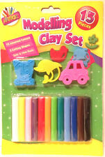 Modellazione argilla Set 15pc 12 COLORI 3 STAMPI Kids Art & Craft Soft plastilina
