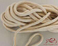 6MM x 2MTR SOFT NATURAL BRAIDED COTTON ROPE FISHERMAN PIPING DIY BONDAGE STRING