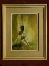Mid Century Danish Modern Oil painting Nude Portrait woman signed Danneskjold