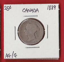1889 25 Cent Canada Silver Twenty Five Cents Quarter Coin 1335 $100 AG