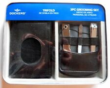Dockers Trifold Black Leather Wallet & 3pc Grooming Set ~New in Package Gift Set