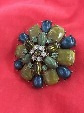 Large Brooch Pin Teal and Green