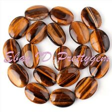 """15x20mm Oval Yellow Tiger's Eye Gematone For DIY Jewelry Making Beads Strand 15"""""""