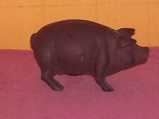 VINTAGE CAST IRON Piggy BANK  STANDING PIG Chipped Nose Nice Heavy Piece
