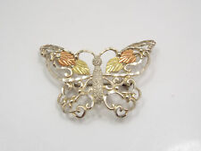 Landstroms Sterling Silver & Black Hills Gold Ornate Butterfly Brooch Pin