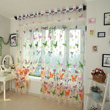 Butterflies Voile Curtains Divider Window Curtain Drape Panel Sheer IB