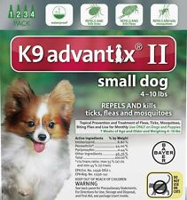 K9 Advantix II Small Dog ~ Dogs 4 -10 lbs 4 Month Control Fleas Ticks Mosquitoes