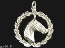 Horses Head in Laurel Charm Sterling silver 925 charmmakers