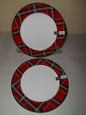 4 CIROA Bone China Plaid RED Salad Plates CHRISTMAS