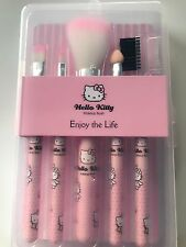 Women Hello Kitty Girl Pink Small Face Eye Lip Makeup Travel Brushes set  In Box