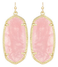 Kendra Scott Elle Dangle Earrings in Pink Rose Quartz & Gold Plated