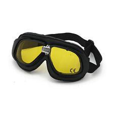 Bandit Classic Goggle, giallo Lente, Occhiali moto, Pelle, black, per elmo jet