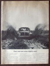 """Print Ad 1968 Volkswagen Beetle in Mud Road 10.5""""x14"""" VG+"""