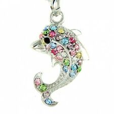 Adorable w Swarovski Crystal Cute ~Rainbow DOLPHIN~ Charm Pendant Necklace Xmas