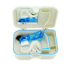Portable Denture Storage Box Case With Mirror and Clean Brush Dental Appliance