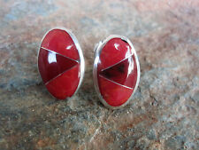 Post Earrings Red Stone Mosaic Inlay Made in Mexico Fair Trade Handcrafted  NEW