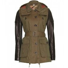 BURBERRY BRIT Green LEATHER SLEEVE MID-LENGTH Canvas TRENCH COAT Hood Sz S P