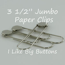 12 SILVER Jumbo / Giant 3 1/2 Inch Bookmarks/Paper Clips/Paperclips w/ Glue Pads