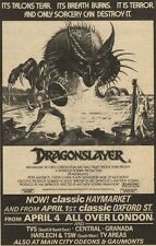 "3/4/82Pgn24 MOVIE ADVERT 7X5"" THE DRAGONSLAYER"