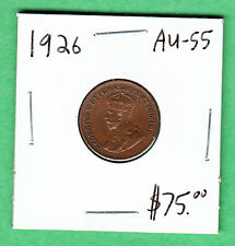 1926 Canada - One Cent Coin - AU-55 - Key Date -