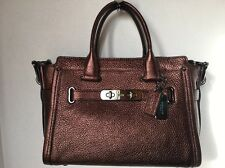 NWT Coach 34816 Swagger 27 in Pebble Leather dark bronze metallic