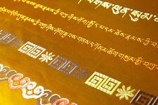 "100"" TIBET 8 HOLY SIGNS  GOLDEN SILK SCARF OFFERING KATAK KHATA KATAS HADA"
