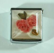 "Vintage Zippo Measuring Tape Ruler Pink Flowers Floral 4.2cmx3.9cm / 1.6"" x 1.5"""