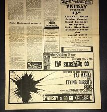 Taj Mahal Flying Burrito Brothers Etc.  Concert Ad 1968 Los Angeles Sunset Strip