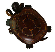 Genuine Leather Turtle Pattern Backpack,Lovely Bag and Dark-Brown. Handcrafted