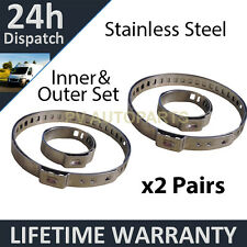 2X CV BOOT STAINLESS STEEL CLAMPS PAIR INNER & OUTER FITS ALL VEHICLES UNIVERSAL